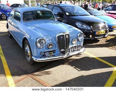 Amsterdam, The Netherlands - September 10, 2016: Blue Lancia Aurelia B20 1955 On Display During Cars