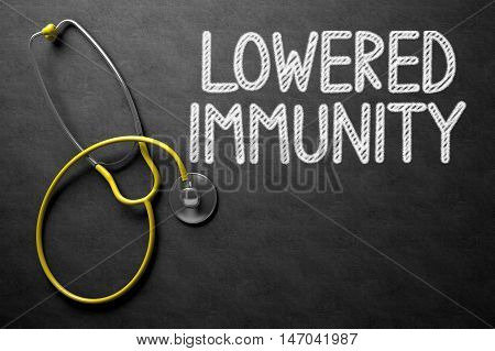 Medical Concept: Black Chalkboard with Lowered Immunity. Medical Concept: Lowered Immunity on Black Chalkboard. 3D Rendering.