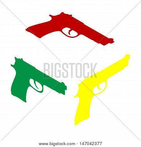 Gun Sign Illustration. Isometric Style Of Red, Green And Yellow Icon.
