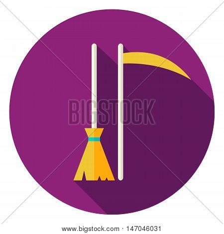 Broom and Scythe Circle Icon. Flat Design Vector Illustration with Long Shadow. Witch and Reaper Symbol.