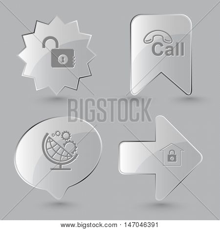 4 images: opened lock, hotline, globe and gears, bank. Business set. Glass buttons on gray background. Vector icons.