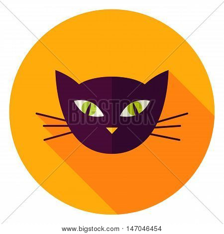 Night Cat Face Circle Icon. Flat Design Vector Illustration with Long Shadow. Witch Animal Symbol.