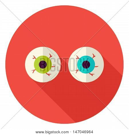 Spooky Eyeballs Circle Icon. Flat Design Vector Illustration with Long Shadow. Happy Halloween Symbol.