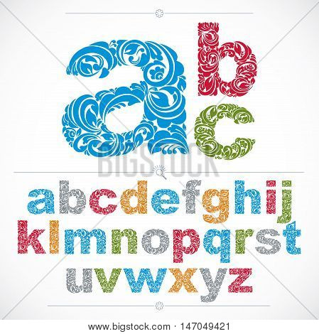 Set of vector ornate lowercase letters flower-patterned typescript. Colorful characters created using herbal texture.