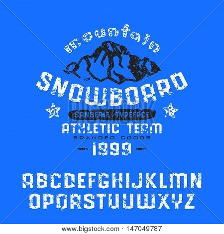 Angular sanserif font with shabby texture. Graphic design for t-shirt. Print on blue background