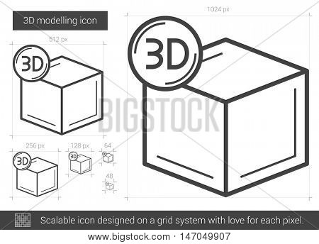 Three D modelling vector line icon isolated on white background. Three D modelling line icon for infographic, website or app. Scalable icon designed on a grid system.
