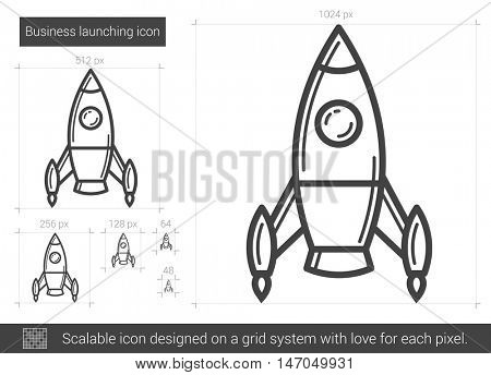 Business launching vector line icon isolated on white background. Business launching line icon for infographic, website or app. Scalable icon designed on a grid system.