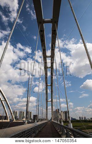 Astana, Kazakhstan 27 08 2016 Arkar bridge construction in summertime