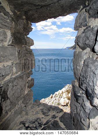 The Sea Of Portovenere From The Remains Of The Old Village D