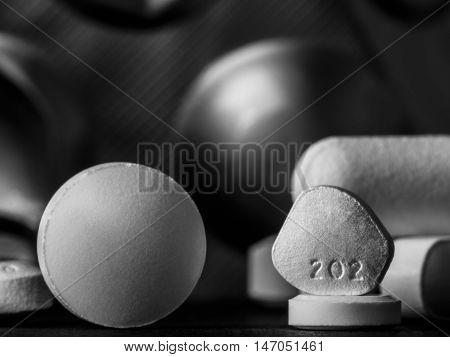 pills and tablets drugs studio macro closeup