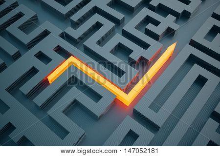 Top view of illuminated orange arrow going through abstract dark maze. Success concept. 3D Rendering