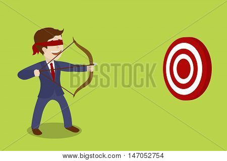 Businessman blindfolded archer. Shoot at random. Business metaphor. Reaching goal blindly. Cartoon colorful vector illustration