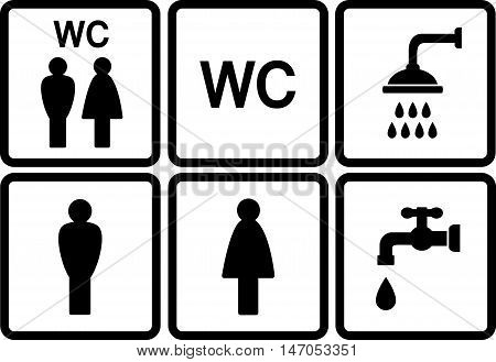 set of wc icons with shower and tap on white background