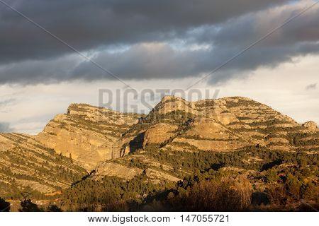 Sunset on Penya Galera. Peak near Beceite
