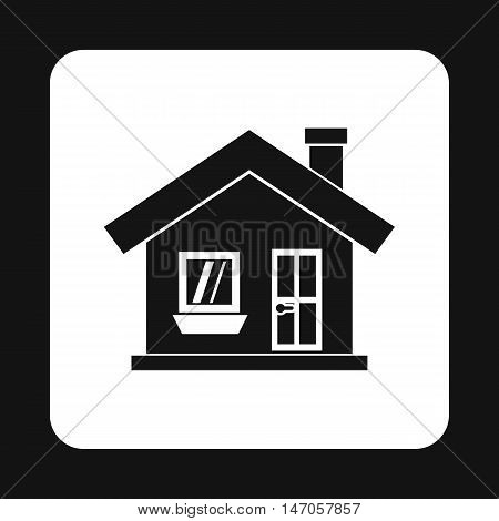 One storey house with a chimney icon in simple style isolated on white background. Structure symbol vector illustration