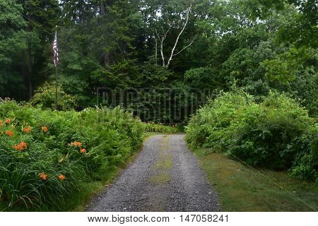 Dirt road on Bustin's Island in Casco Bay Maine.
