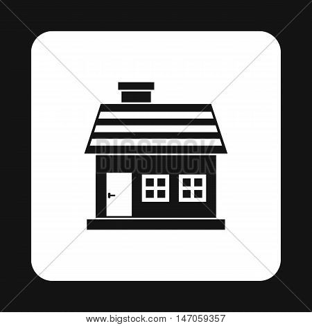 One storey house icon in simple style isolated on white background. Structure symbol vector illustration