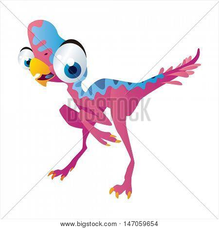 vector cartoon cute animals. Dinosaur Oviraptor