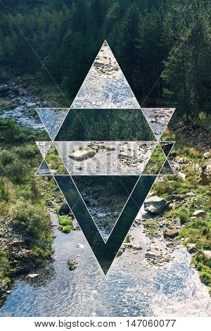 Image of the forest, mountains and the sacred geometry symbol, collage