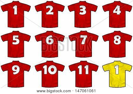 12 twelve red sport shirts as a soccer hockey basket rugby baseball volley or football team t-shirt. Like Spain or England national team