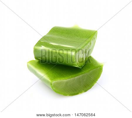 The leaves of aloe Vera isolated on white background.