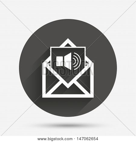 Voice mail icon. Speaker symbol. Audio message. Circle flat button with shadow. Vector