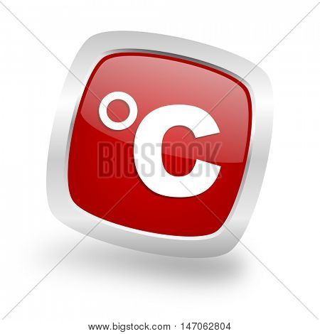 celsius square glossy red chrome silver metallic web icon