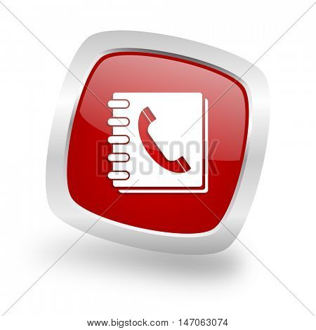phonebook square glossy red chrome silver metallic web icon