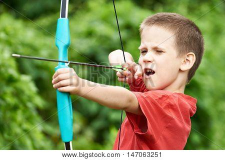 Little Boy Archer With Bow And Arrow