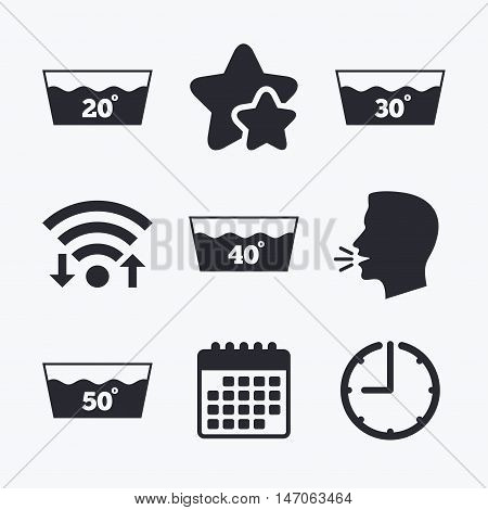Wash icons. Machine washable at 20, 30, 40 and 50 degrees symbols. Laundry washhouse signs. Wifi internet, favorite stars, calendar and clock. Talking head. Vector