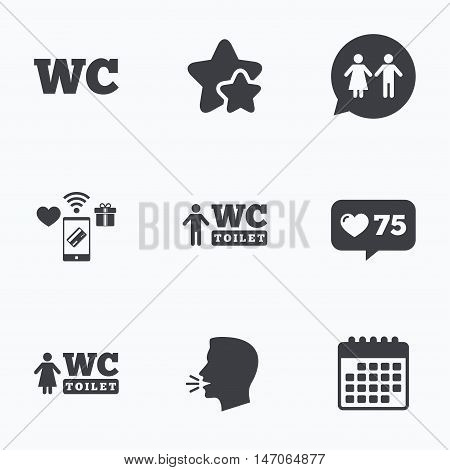 WC Toilet icons. Gents and ladies room signs. Man and woman speech bubble symbol. Flat talking head, calendar icons. Stars, like counter icons. Vector