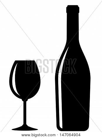 Glossy Wine Bottle And Glass