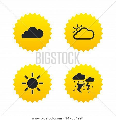 Weather icons. Cloud and sun signs. Storm or thunderstorm with lightning symbol. Gale hurricane. Yellow stars labels with flat icons. Vector