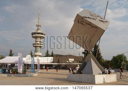 Thessaloniki, Greece - September 12 2016: Entrance to 81st International fair. 81st Thessaloniki International Fair takes place from 10 to 18 September 2016. OTE telecommunications tower is visible.