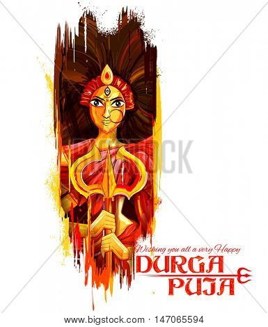 illustration of goddess Durga in Subho Bijoya (Happy Dussehra) background with bengali text meaning Mother Durga