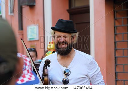 Ferrara, Italia - August 25, 2016: The Ferrara Buskers Festival is dedicated to the art of the street. A small detail of a Hohner accordion used by a street band
