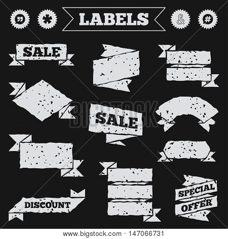 Stickers, tags and banners with grunge. Quote, asterisk footnote icons. Hashtag social media and ampersand symbols. Programming logical operator AND sign. Speech bubble. Sale or discount labels. Vector