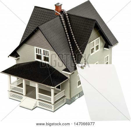 Model of a House with Grey Gift Tag - Isolated
