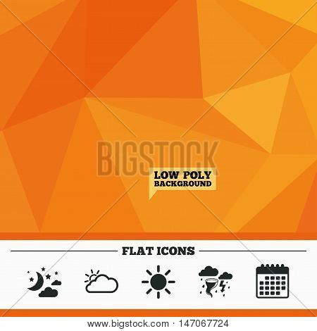 Triangular low poly orange background. Weather icons. Moon and stars night. Cloud and sun signs. Storm or thunderstorm with lightning symbol. Calendar flat icon. Vector