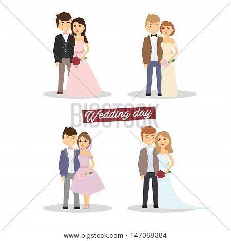 Newlyweds set . Wedding married couple Vector illustration