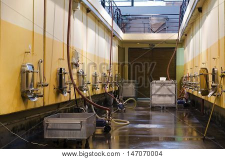 Bulgarian winery and stainless steel fermentation vessels