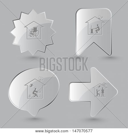 4 images: nursing home,  work,  inspiration, affiance. Home set. Glass buttons on gray background. Vector icons.