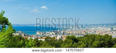 Basilica of Notre Dame de la Garde and old port in Marseille, France, Europe