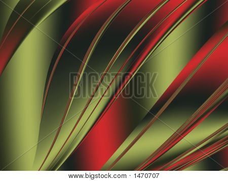 Gold & Red Abstract Waves - Fractal Illustration