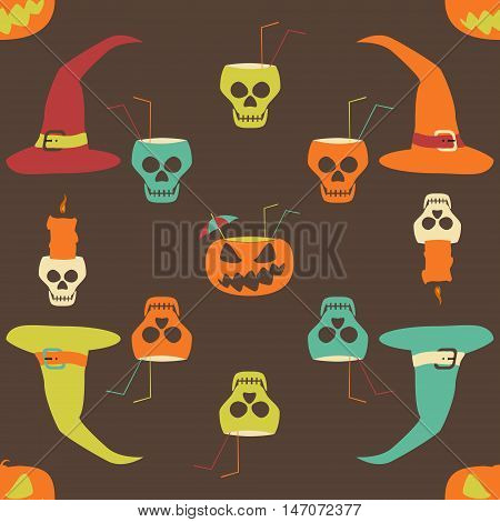 Halloween party seamless pattern. Evil pumpkins with drinking straws and cocktail umbrellas, human skulls as goblets and candlesticks, witch hats. Crazy motley vector illustration for festive design