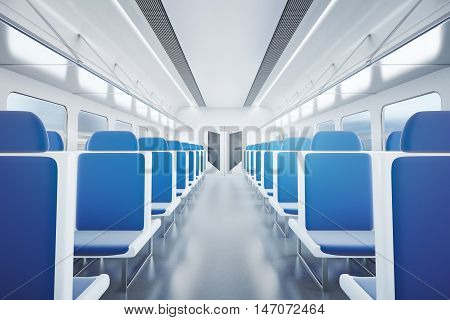 Empty passenger train interior with blue seats. 3D Rendering