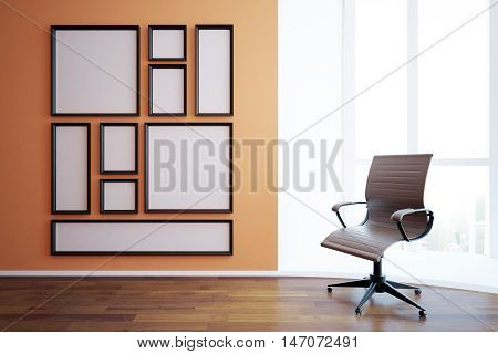 Front view of blank picture frames in interior with empty swivel chair wooden floor and window with city view and daylight. Mock up 3D Rendering