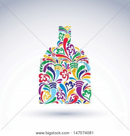 Colorful flower-patterned bottle alcohol and relaxation concept. Stylized flowery glassware. Graphic abstract vector design object holiday idea.