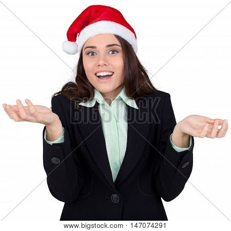 Shrugs Businesswoman with Snata Hat - Isolated