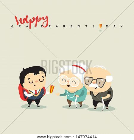 Cartoon characters grandfather grandmother and grandson. The concept of character, seniors receive a gift from a child. People cartoon boy, woman and man. Picture elder people vector illustration